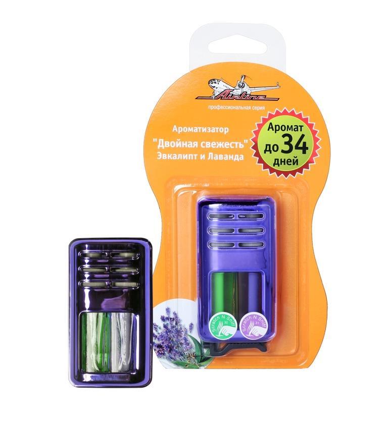 Ароматизатор автомобильный Airline Двойная свежесть, на дефлектор, эвкалипт и лавандаAF-D03-ELАроматизатор Airline Двойная свежесть, устанавливаемый на дефлектор, — это весьма практичный и удобный способ освежить салон автомобиля. Гелевый наполнитель изделия обеспечивает сохранение аромата в машине до 34-х дней. Модель сочетает аромат эвкалипта и лаванды. Эвкалипт поможет водителю или пассажирам салона избавиться от эмоциональной напряженности и повысит концентрацию внимания. Лаванда добавит нотки легкости и свежести.