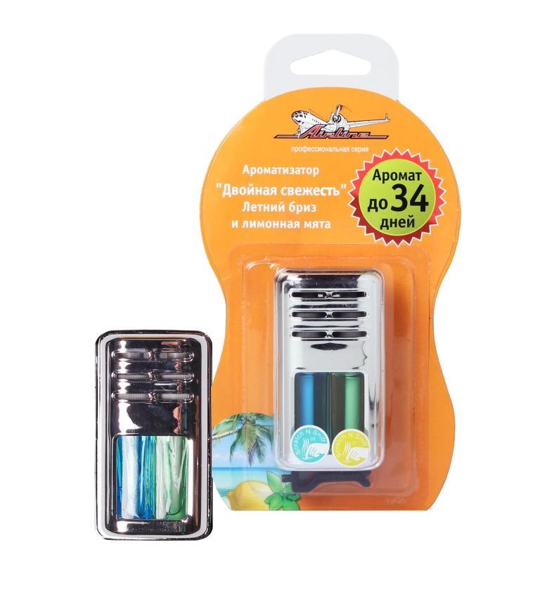 Ароматизатор автомобильный Airline Двойная свежесть, на дефлектор, летний бриз и лимонная мятаAF-D03-SLКомпактный ароматизатор в пластиковом корпусе фиксируется на дефлекторе автомобиля и устраняет любые неприятные запахи, образовавшиеся в салоне машины. Внутри корпуса изделия размещен гель, при испарении которого происходит насыщение салона приятным освежающим ароматом. Модель имеет запах лимонной мяты и летнего бриза. Сочетание таких ароматов способно не только освежить салон, но и подарить хорошее настроение как автомобилисту, так и пассажирам транспортного средства.