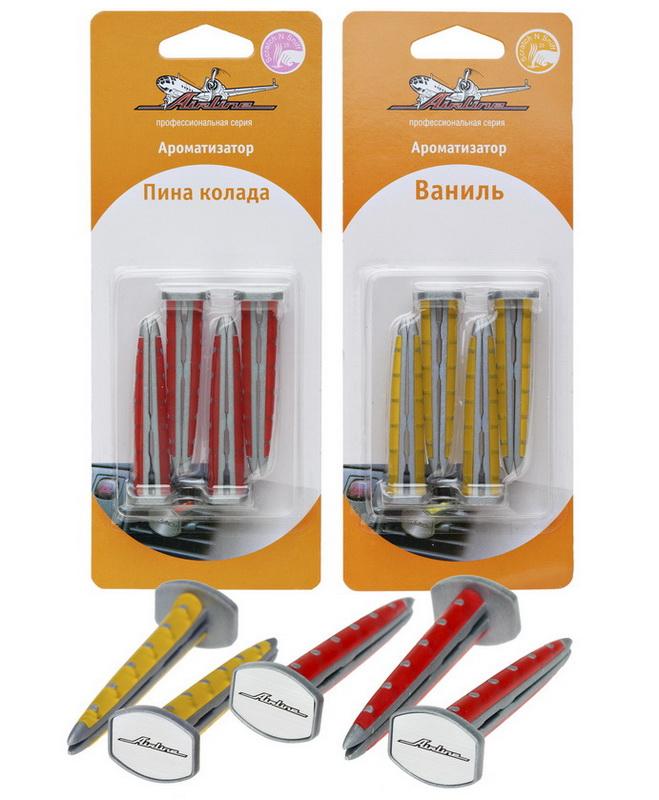 Ароматизатор автомобильный Airline Клипса, на дефлектор, пина коладаAF-F01-PCНабор ароматизаторов серии «Клипса» от AIRLINE содержит четыре изделия с ароматом «Пина Колада», устанавливаемых внутрь дефлектора автомобиля. Запах «Пина Колада» подойдет любителям легкости, а также сладких фруктовых ароматов. Он сочетает в себе тропическую свежесть ананаса и экзотичность кокосового ореха.