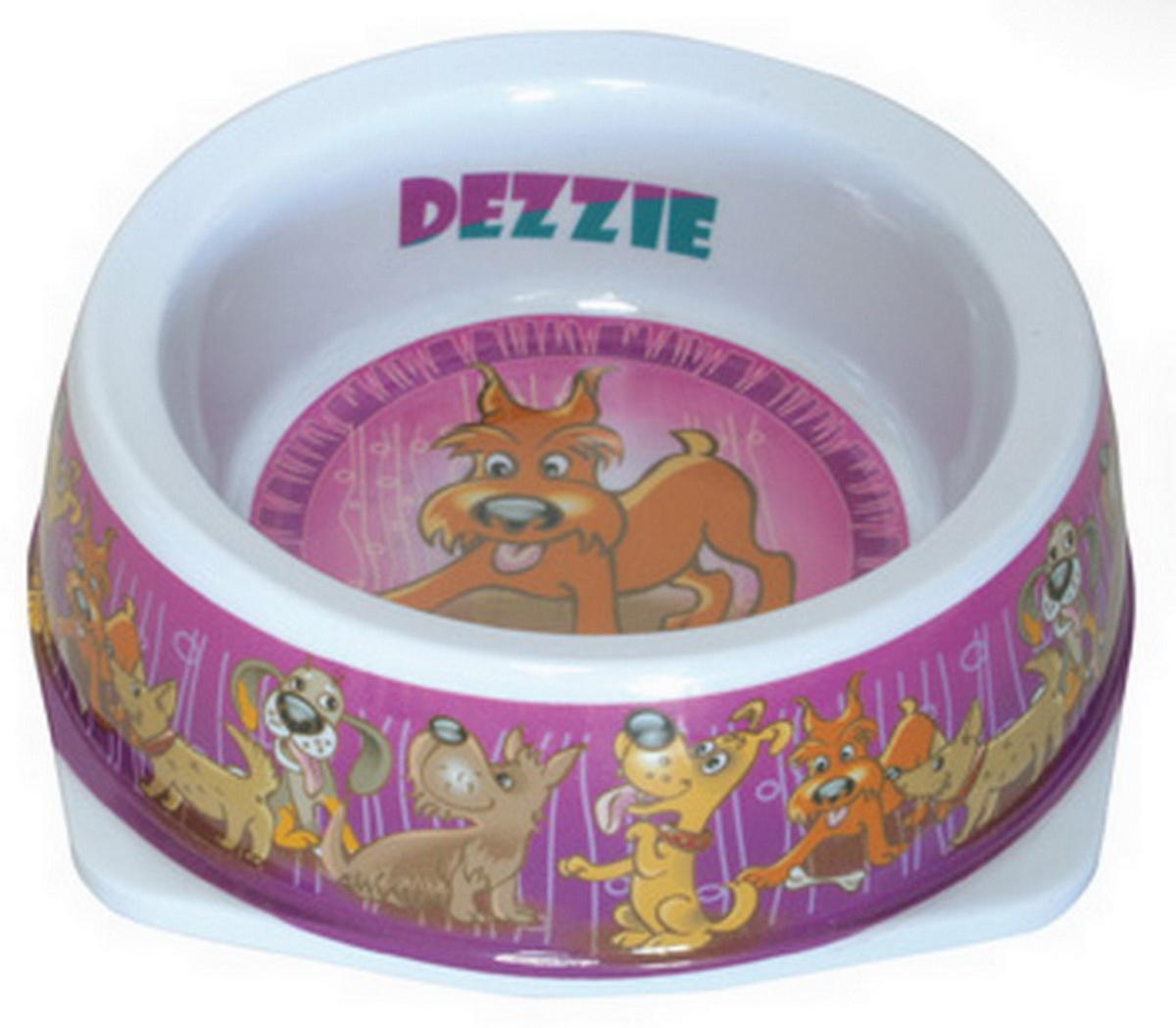Миска для собак Dezzie Азарт, 150мл5619045Миска для собак с ярким рисунком с внешней стороны и на дне. Имеет резиновые антискользящие вставки.