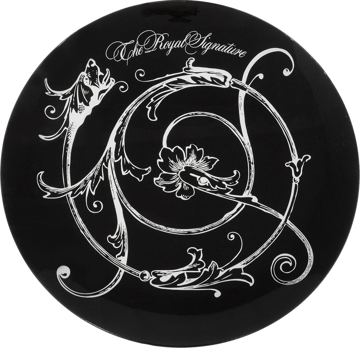 Блюдо Elan Gallery Vegas. Королевский вензель, диаметр 30 см890108 V-010Декоративное блюдо Elan Gallery Vegas. Королевский вензель, изготовленное из стекла, прекрасно подойдет для тортов, пирожных, фруктов, суши-сетов, пиццы и блюд, приготовленных на гриле. Изделие, оформленное оригинальным рисунком, украсит сервировку вашего стола и подчеркнет прекрасный вкус хозяйки. Не рекомендуется применять абразивные моющие средства. Не использовать в микроволновой печи. Диаметр блюда: 30 см. Высота блюда: 2 см.
