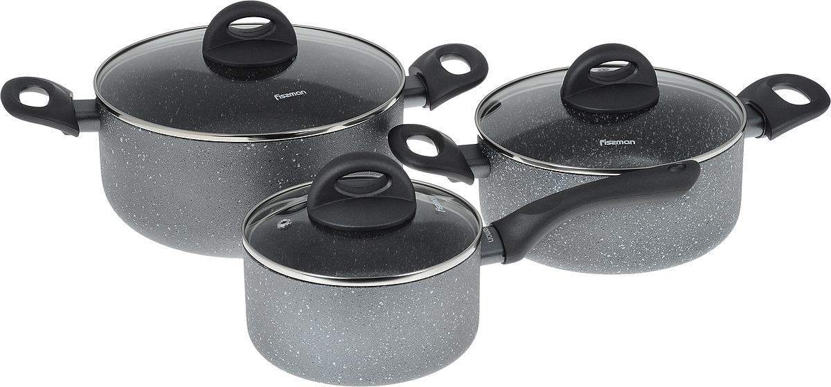Набор посуды Fissman Moon Stone, с антипригарным покрытием, 6 предметовAL-4401.6Набор посуды Fissman Moon Stone состоит из двух кастрюль с крышками и ковша с крышкой. Изделия выполнены из высококачественного алюминия с антипригарным покрытием Platinum. Оптимальное соотношение толщины дна и стенок обеспечивает равномерное распределение тепла и делает посуду устойчивой к деформации. Высокопрочные огнестойкие ручки удобной формы обеспечивают удобство в процессе эксплуатации. Крышки, выполненные из стекла, оснащены ручками и отверстием для выхода пара. Можно готовить на газовых, электрических, стеклокерамических и индукционных плитах. Можно мыть в посудомоечных машинах. Диаметр кастрюль (по верхнему краю): 20 см; 24 см. Объем кастрюль: 2,8 л; 4,9 л. Высота стенок кастрюль: 9 см; 11 см. Диаметр дна кастрюль: 16 см; 17,5 см. Диаметр ковша (по верхнему краю): 16 см. Объем ковша: 1,6 л. Высота стенки ковша: 8 см. Длина ручки ковша: 16,5 см. Диаметр дна ковша: 14 см.