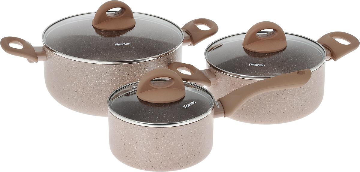 Набор посуды Fissman Latte, с антипригарным покрытием, 6 предметовAL-4952.6Набор посуды Fissman Latte состоит из двух кастрюль с крышками и ковша с крышкой. Изделия выполнены из высококачественного алюминия с антипригарным покрытием TouchStone. Оптимальное соотношение толщины дна и стенок обеспечивает равномерное распределение тепла и делает посуду устойчивой к деформации. Высокопрочные огнестойкие ручки удобной формы обеспечивают удобство в процессе эксплуатации. Крышки, выполненные из стекла, оснащены ручками и отверстием для выхода пара. Можно готовить на газовых, электрических, стеклокерамических и индукционных плитах. Можно мыть в посудомоейчной машине. Диаметр кастрюль (по верхнему краю): 20 см; 24 см. Объем кастрюль: 2,8 л; 4,9 л. Высота стенок кастрюль: 9 см; 11 см. Диаметр дна кастрюль: 16 см; 17,5 см. Диаметр ковша (по верхнему краю): 16 см. Объем ковша: 1,6 л. Высота стенки ковша: 8 см. Длина ручки ковша: 16,5 см. Диаметр дна ковша: 14 см.