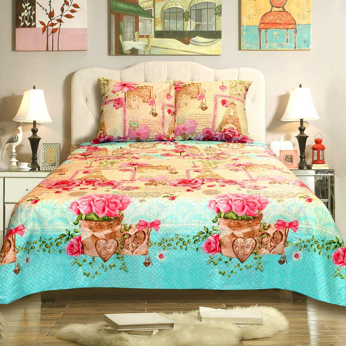 Комплект белья Amore Mio Paris, 2-спальный, наволочки 70x70, цвет: зеленый, розовый, молочный78410Бязь - традиционная российская ткань для постельного белья. Постельное белье из бязи практично и долговечно, а самое главное - это 100% хлопок! Материал великолепно отводит влагу, отлично пропускает воздух, не капризен в уходе, легко стирается и гладится. Новая коллекция Naturel 3-D дизайнов позволит выбрать постельное белье на любой вкус!