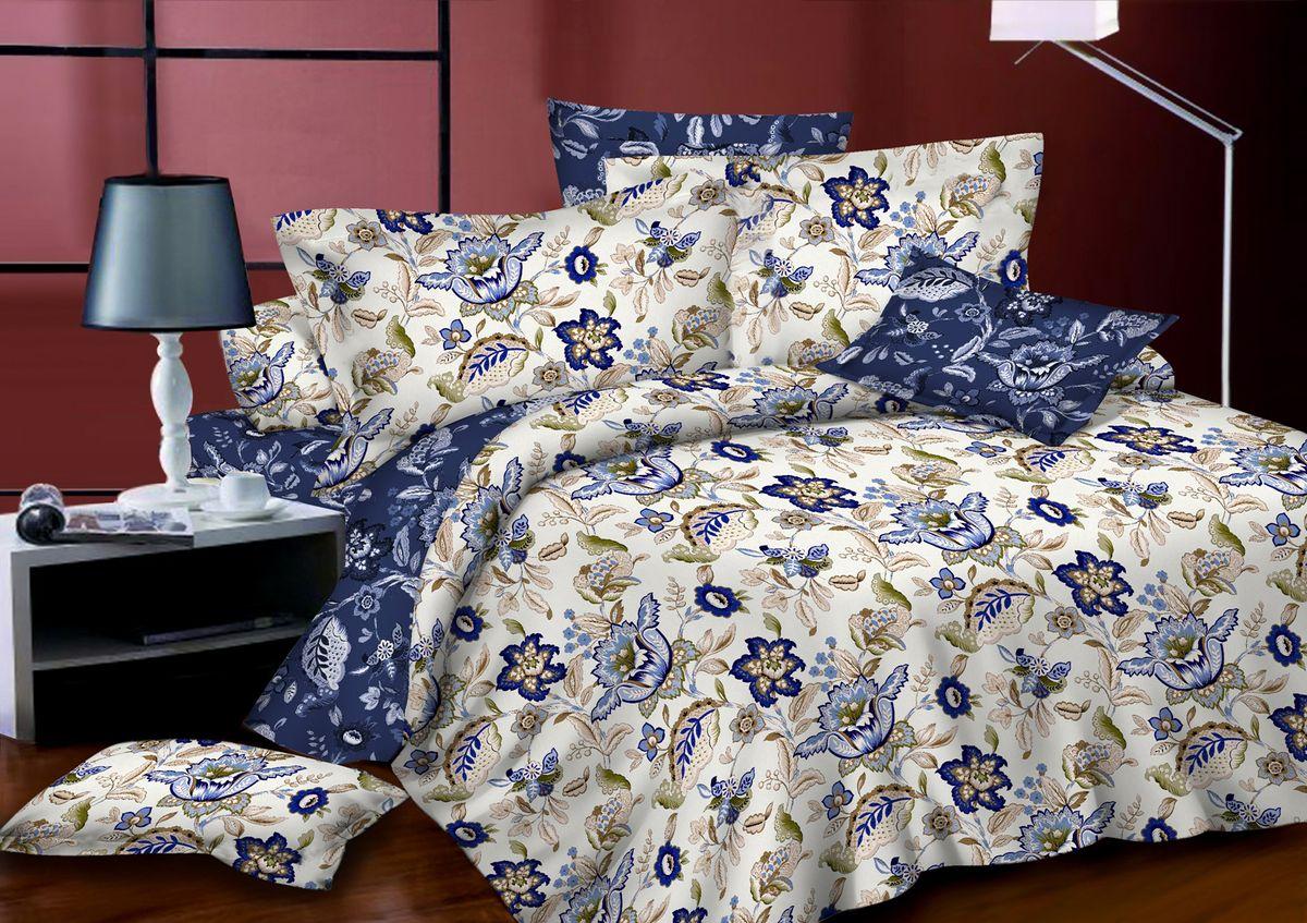 Комплект белья Amore Mio Cleo, 1,5-спальный, наволочки 70x70, цвет: молочный, синий, бежевый82866Комплект постельного белья Amore Mio является экологически безопасным для всей семьи, так как выполнен из сатина (100% хлопок). Постельное белье оформлено оригинальным рисунком и имеет изысканный внешний вид. Сатин - это ткань сатинового (атласного) переплетения нитей. Имеет гладкую, шелковистую лицевую поверхность, на которой преобладают уточные нити (уток - горизонтально расположенные в тканом полотне нити). Сатин изготавливается из крученой хлопковой нити двойного плетения. Он чрезвычайно приятен на ощупь, не электризуется и не скользит по кровати. Сатин прекрасно сохраняет форму и не мнется, отлично пропускает воздух, что позволяет телу дышать и дарит здоровый и комфортный сон. Комплект состоит из пододеяльника, простыни и двух наволочек.