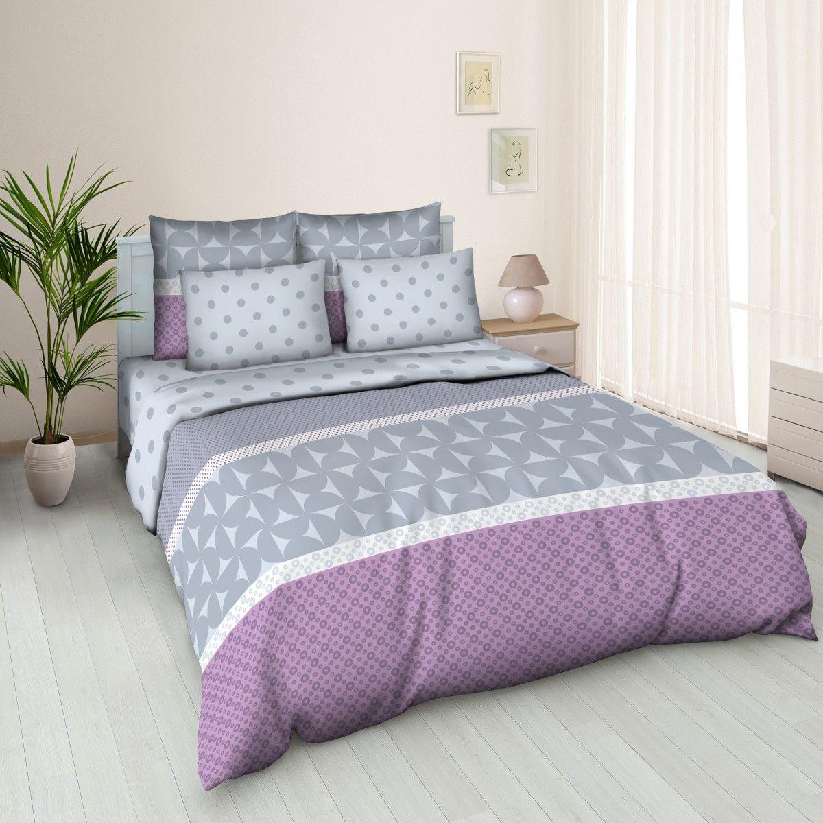 """Комплект белья Amore Mio """"Solo"""", 2-спальный, наволочки 70x70, цвет: серый, сиреневый, белый 83333"""