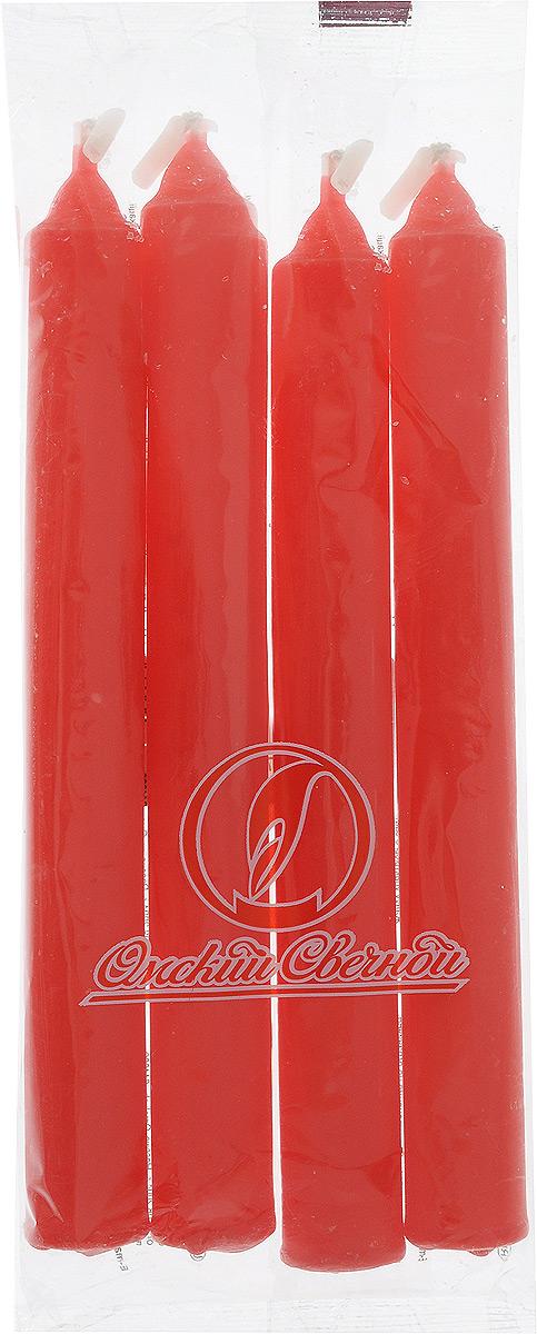 Набор свечей Омский cвечной завод, цвет: красный, высота 17,5 см, 4 шт330082/001618Набор Омский cвечной завод состоит из четырех свечей, изготовленных из парафина и хлопчатобумажной нити. Такие свечи создадут атмосферу таинственности и загадочности и наполнят ваш дом волшебством и ощущением праздника. Хороший сувенир для друзей и близких. Примерное время горения: 5 часов. Высота: 17,5 см. Диаметр: 2 см.