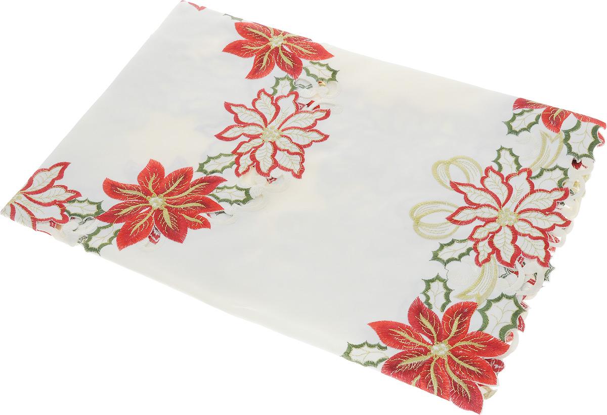 Скатерть Schaefer, квадратная, цвет: молочный, красный, золотистый, 85 x 85 см07406-100Квадратная скатерть Schaefer, выполненная из полиэстера, станет украшением кухонного стола. Изделие оформлено вышивкой и перфорированным узором. За текстилем из полиэстера очень легко ухаживать: он не мнется, не садится и быстро сохнет, легко стирается, более долговечен, чем текстиль из натуральных волокон. Использование такой скатерти сделает застолье торжественным, поднимет настроение гостей и приятно удивит их вашим изысканным вкусом. Также вы можете использовать эту скатерть для повседневной трапезы, превратив каждый прием пищи в волшебный праздник и веселье. Это текстильное изделие станет изысканным украшением вашего дома!