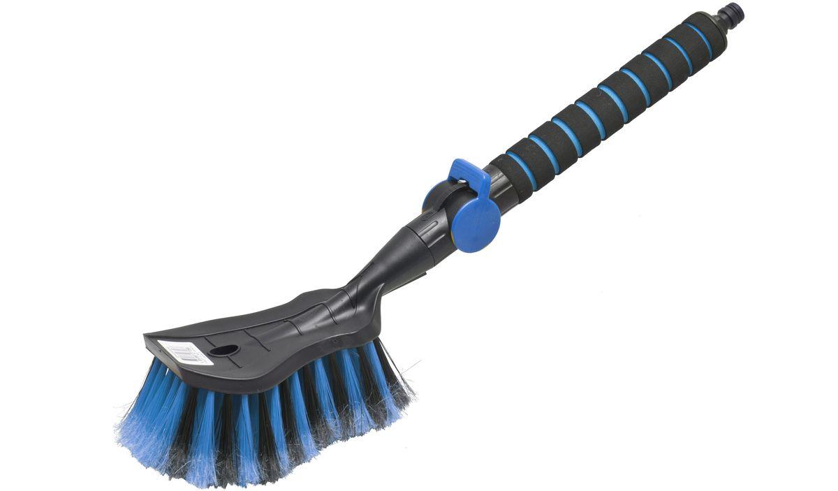 Щетка для мытья Главдор GL-578, с клапаном, цвет: голубойGL-578Щетка для мытья с мягкой, распушенной щетиной, изготовлена из прочного пластика. Рукоятка имеет мягкое пенополиэтиленовое покрытие, снабжена адаптером (насадкой) дляподключения к шлангу и клапаном регулировки подачи воды.