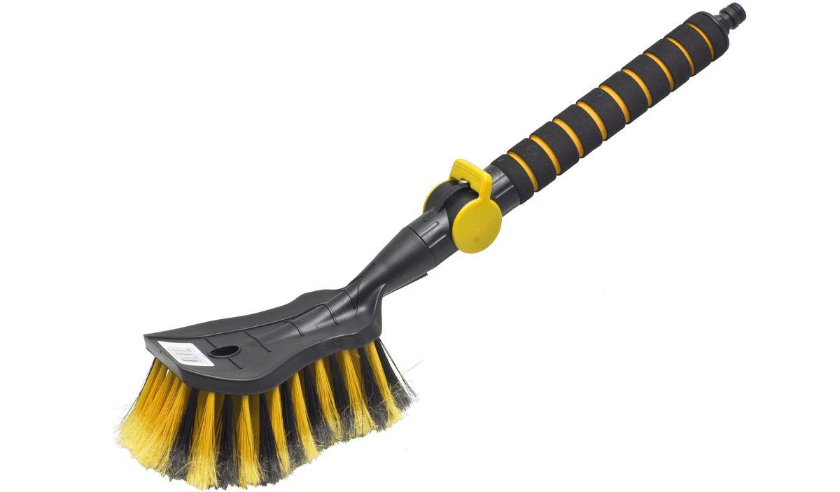 Щетка для мытья Главдор GL-579, с клапаном, цвет: желтыйGL-579Щетка для мытья с мягкой, распушенной щетиной, изготовлена из прочного пластика. Рукоятка имеет мягкое пенополиэтиленовое покрытие, снабжена адаптером (насадкой) дляподключения к шлангу и клапаном регулировки подачи воды.