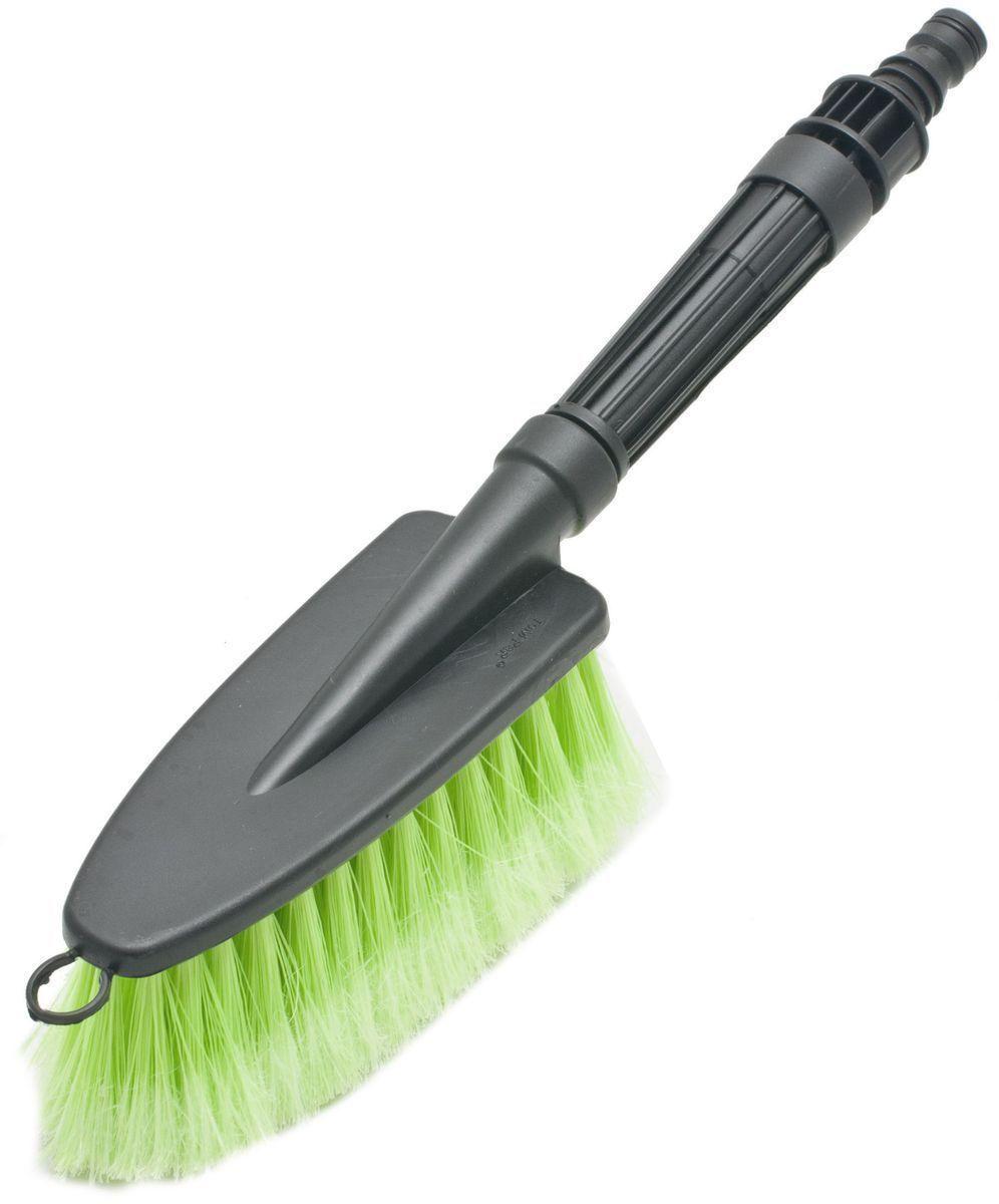 Щетка для мытья под шланг Главдор GL-583, с двойным клапаном, цвет: зеленыйGL-583Щетка для мытья с мягкой, распушенной щетиной, изготовлена из прочного пластика. Снабжена адаптером (насадкой) дляподключения к шлангу идвойным клапаном.
