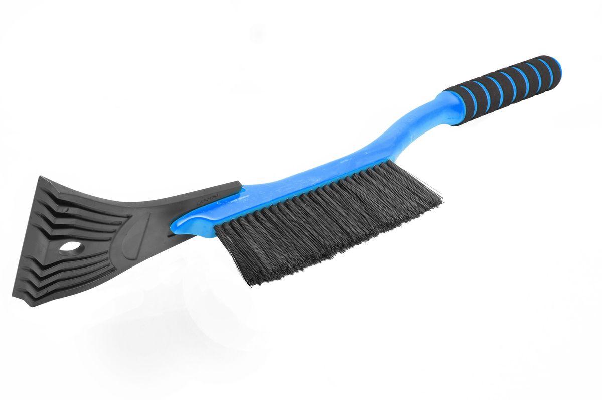 Щетка для снега Главдор GL-595, со скребком, длина: 54 см, поролоновая ручка, цвет: голубойGL-595Компактная щетка с упругой, однорядной, полимерной щетиной и скребком с разрыхлителем. Снабжена мягкой ручкой из пенополиэтилена.