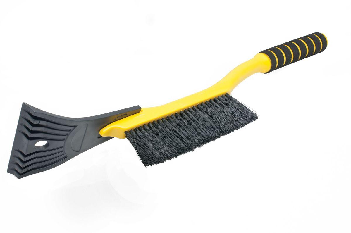 Щетка для снега Главдор GL-596, со скребком, длина: 54 см, поролоновая ручка, цвет: желтыйGL-596Компактная щетка с упругой, однорядной, полимерной щетиной и скребком с разрыхлителем. Снабжена мягкой ручкой из пенополиэтилена.