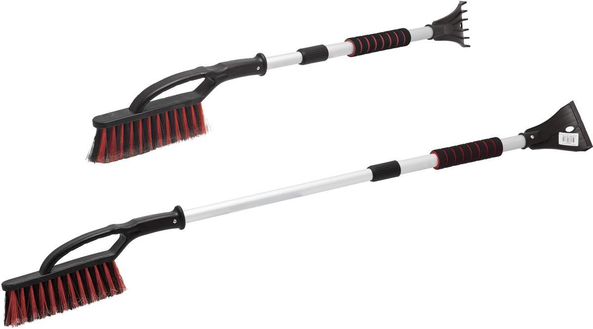 Щетка для снега Главдор GL-610, со скребком, цвет: красныйGL-610Телескопическаящетка-сметка, длина 86 - 116см, для снега на алюминиевой основе. Cнабжена трехрядной распущенной щетиной и скребком для льда, с разрыхлителем.Мягкая, удобная ручка изготовлена из пенополиэтилена.