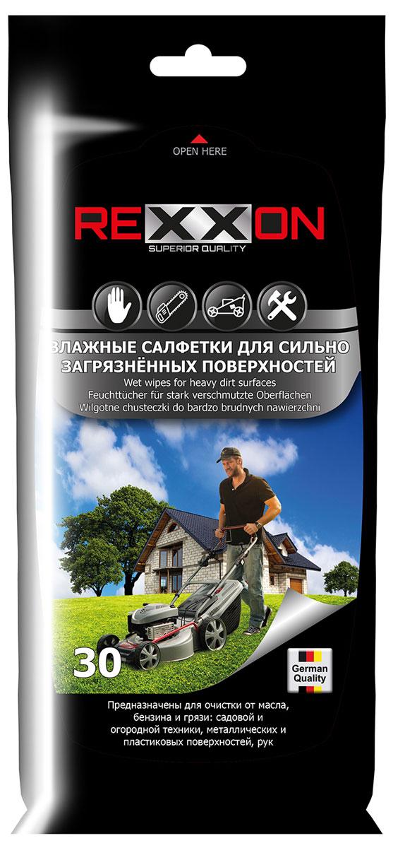 Влажные салфетки Rexxon, для сильно загрязненных поверхностей автомобиля, 30 шт2-1-5-0-1Влажные салфетки предназначены для очистки от масла, бензина и грязи садовой и огородной техники, а также металлических и пластиковых поверхностей автомобиля, и рук.