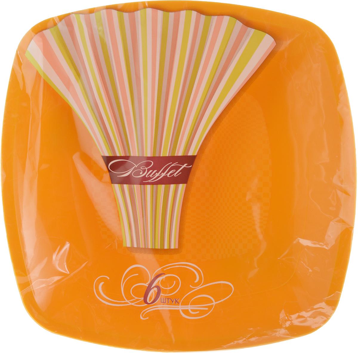 Набор одноразовых тарелок Buffet, цвет: оранжевый, 18 х 18 см, 6 шт183897/_желтыйНабор Buffet состоит из 6 тарелок, выполненных из полипропилена и предназначенных для одноразового использования. Такие тарелки подходят для пищевых продуктов и будут незаменимы при поездках на природу, пикниках и других мероприятиях. Они не займут много места, легки и самое главное - после использования их не надо мыть. Размер тарелки: 18 х 18 см.