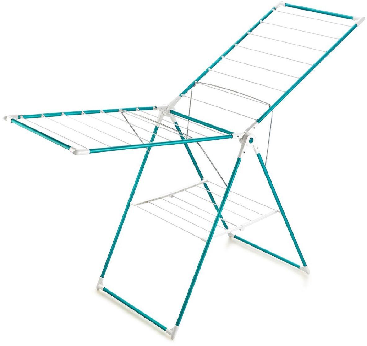 Сушилка для белья Perilla Мега Колор/Mega Color, напольная, 17,5 мKRT57014Сушилка для белья Perilla Мега Колор/Mega Color-Напольная сушилка для белья проста и удобна в использовании, компактно складывается, экономя место в вашей квартире. Сушилку можно использовать на балконе или дома.Она оснащена складными створками для сушки одежды во всю длину, а также имеет специальные пластиковые крепления в основе стоек, которые не царапают пол. Полезная длина сушильного полотна 17,5 м.Вакуумная упаковка.