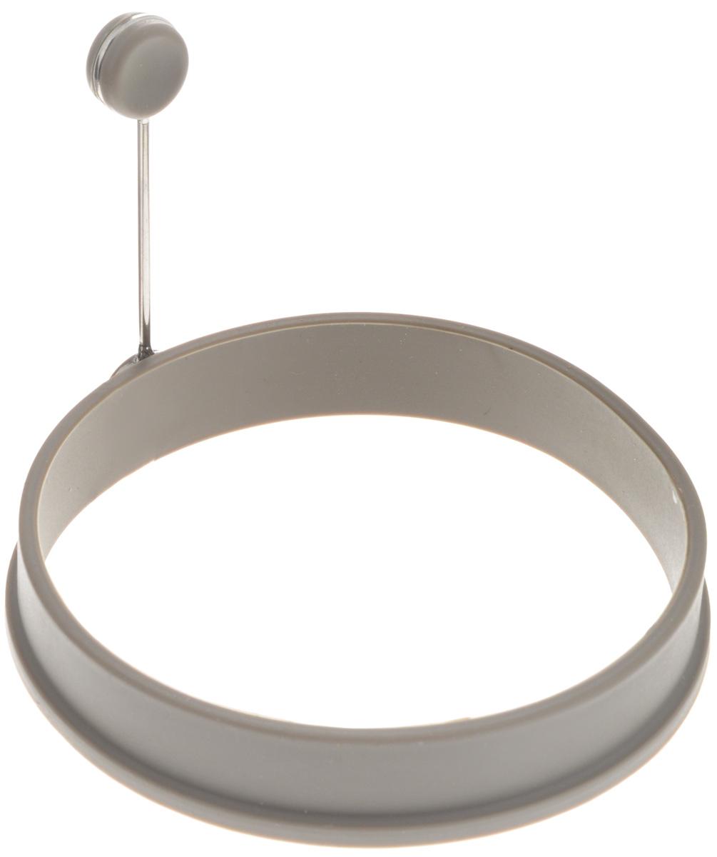 Форма для яичницы Gipfel Eco, цвет: серый, диаметр 10,5 см2815Форма Gipfel Eco выполнена из силикона и предназначена для приготовления яичницы, выпекания блинов и многого другого. Необходимо просто залить приготавливаемую массу внутрь формочки, расположенной на сковородке, и подождать, пока блюдо не дойдет до нужной кондиции. Форма оснащена металлической ручкой с силиконовой вставкой, что облегчит снятие изделия со сковороды и предотвратит появление ожогов. Можно мыть в посудомоечной машине. Размер формы: 10,5 х 10,5 х 2 см. Длина ручки: 8 см.