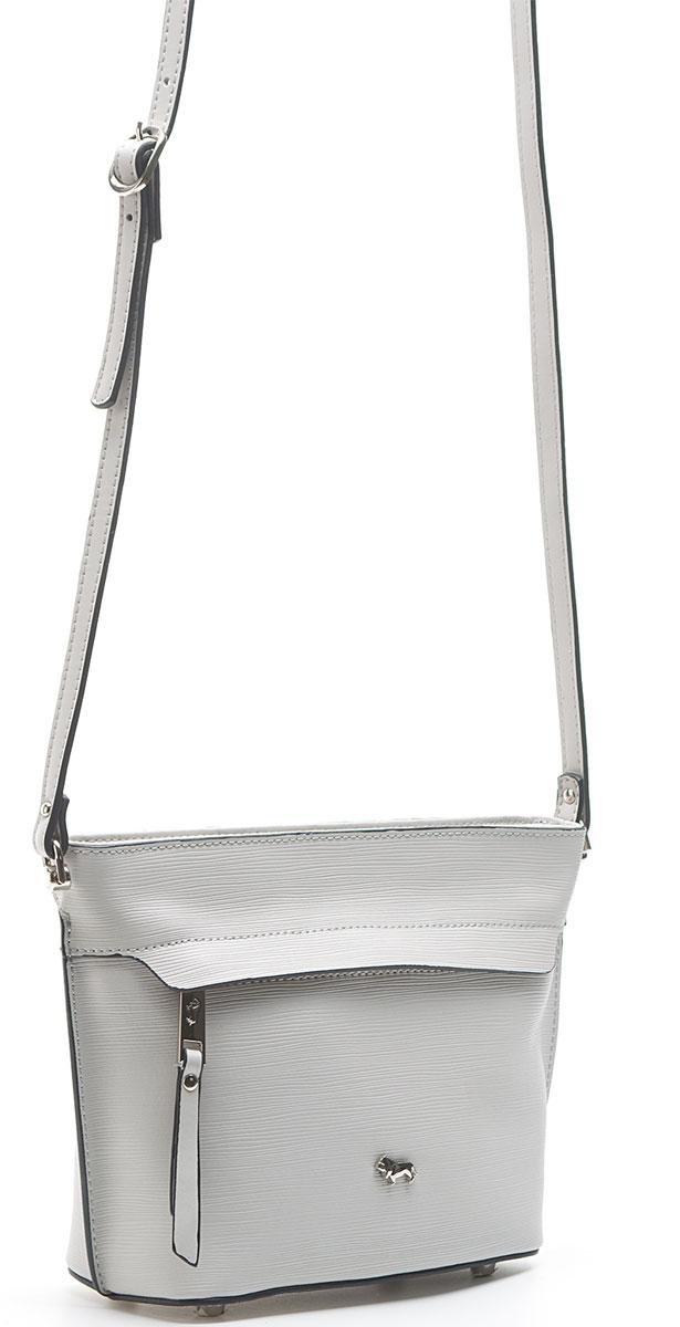 Сумка женская Labbra, цвет: светло-серый. L-15681L-15681Женская сумка торговой марки LABBRA из натуральной кожи. Модель закрывается на металлическую молнию. Внутри - два отделения, разделенные средником на молнии, в одном имеется карман на молнии, в другом - карман для мобильного телефона и открытый карман. Сумка имеет ножки на дне, а так же карманы на передней и задней стенках. Длина наплечного ремня - 110 см.
