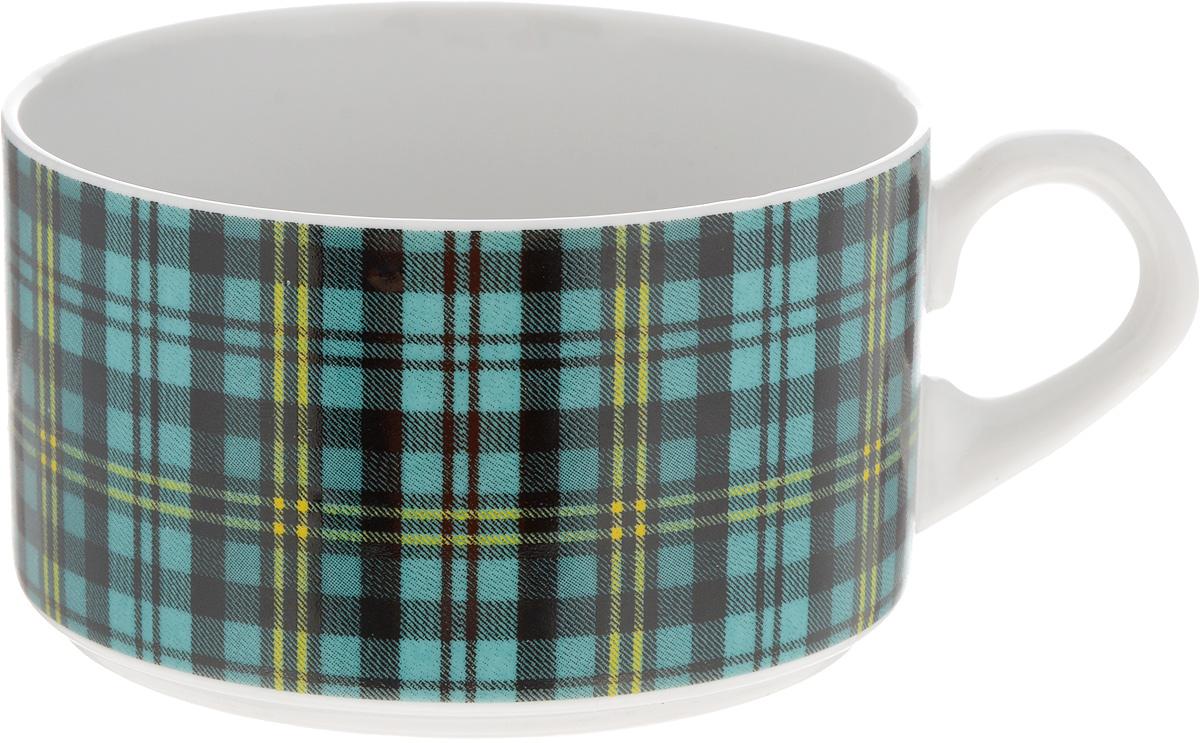 Чашка чайная Фарфор Вербилок Европейка. Шотландка, цвет: бирюзовый, черный, белый, 230 мл2074210_бирюзовая клеткаЧайная чашка Фарфор Вербилок Европейка. Шотландка способна скрасить любое чаепитие. Изделие выполнено из высококачественного фарфора. Посуда из такого материала позволяет сохранить истинный вкус напитка, а также помогает ему дольше оставаться теплым. Диаметр по верхнему краю: 8,5 см. Высота чашки: 5,5 см.