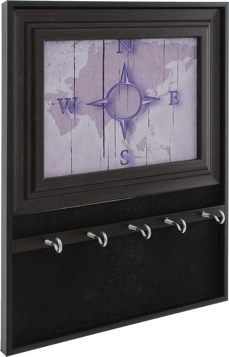 Вешалка-ключница Milarte Открытая, цвет: сиреневый, темно-коричневый, 31 х 24,5 х 1,5 смKOMV-107016_сиреневыйВешалка-ключница Milarte Открытая, выполненная из МДФ, украсит интерьер помещения, а также поможет создать атмосферу уюта. Ключница, декорированная оригинальным изображением, станет не только украшением вашего дома, но и послужит функционально. Изделие имеет пять металлических крючков для ключей. Вешалка-ключница подвешивается на стену с помощью металлической петельки. Размер изображения: 17 х 12,5 см.