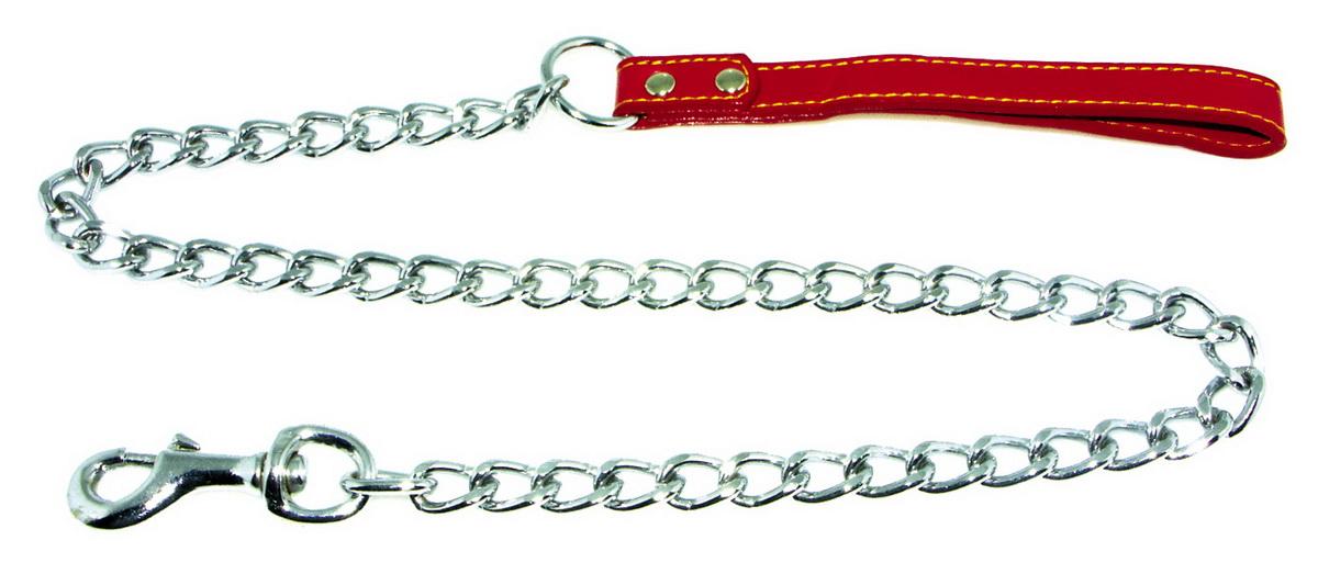 Поводок-цепь для собак Dezzie, цвет: красный, серебристый, толщина 2,5 мм, длина 120 см5601016Поводок-цепь для собак Dezzie - это удобная и качественная амуниция из хромированной стали и натуральной кожи. Поводок прост в использовании. Он поможет удерживать энергичного питомца во время прогулки, не навредив при этом его здоровью. Изделие пристегивается к ошейнику с помощью встроенного карабина. Такой поводок смотрится элегантно, идеально подходит для дрессировки и создан так, чтобы не причинить питомцам дискомфорта. Длина поводка: 120 см. Толщина цепи: 2,5 мм.