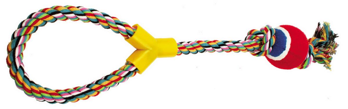 Игрушка для собак Dezzie Веревка №3, длина 50 см5608027Игрушка для собак Dezzie Веревка №3 изготовлена из натуральной хлопковой веревки и шарика из винила, поэтому не только увлекательна, но и полезна для здоровья домашних животных. Во время игры питомец тренирует десны и очищает свои зубы от камня. Веревочные игрушки - это одни из самых популярных игрушек для собак. Длина игрушки: 50 см.