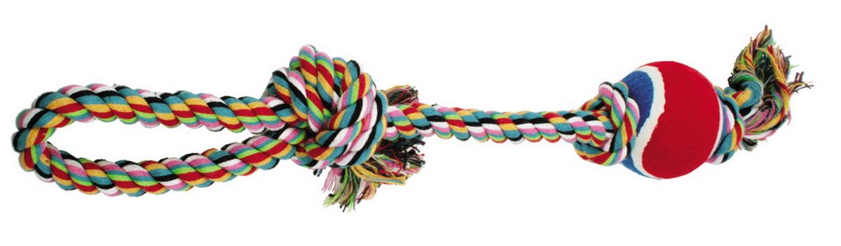 Игрушка для собак Dezzie Веревка №2, длина 50 см5608041Игрушка для собак Dezzie Веревка №2 изготовлена из натуральной хлопковой веревки и резины, поэтому не только увлекательна, но и полезна для здоровья домашних животных. Во время игры питомец тренирует десны и очищает свои зубы от камня. Веревочные игрушки - это одни из самых популярных игрушек для собак. Длина игрушки: 50 см.