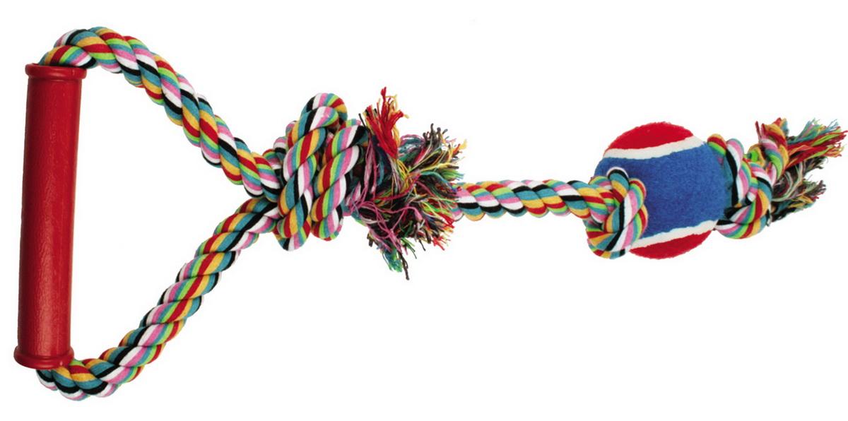 Игрушка для собак Dezzie Веревка №1, длина 50 см5608042Игрушка для собак Dezzie Веревка №1 изготовлена из натуральной хлопковой веревки, ручки из пластика и шарика из резины, поэтому не только увлекательна, но и полезна для здоровья домашних животных. Во время игры питомец тренирует десны и очищает свои зубы от камня. Веревочные игрушки - это одни из самых популярных игрушек для собак. Длина игрушки: 50 см.