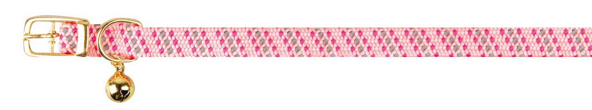 Ошейник для кошек Dezzie, с бубенчиком, цвет: розовый, обхват шеи 28 см, ширина 1 см. 56093875609387Ошейник, растягивающийся на резинке для кошек Dezzie, изготовленный из полиэстера, декорирован теснением и дополнен бубенчиком. Ошейник застегивается на металлическую пряжку. Бубенчик позволит контролировать местонахождение кошки, а также будет оберегать уличных птиц от нежелательного контакта. Имеется металлическое кольцо для крепления поводка. Обхват шеи: 28 см. Ширина ошейника: 1 см.