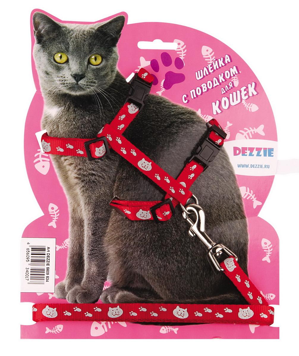 Шлейка для кошек Dezzie, с поводком, ширина 1 см, обхват груди 34-57 см, цвет: красный, белый. 56095345609534Шлейка Dezzie, изготовленная из прочного нейлона, подходит для кошек крупных размеров. Крепкие пластиковые элементы делают ее надежной и долговечной. Обхват шлейки регулируется при помощи пряжек. В комплект входит поводок из нейлона, который крепится к шлейке с помощью металлического карабина. Шлейка и поводок оформлены изображением кошачьей мордочки и следов лапок. Шлейка - это альтернатива ошейнику. Правильно подобранная шлейка не стесняет движения питомца, не натирает кожу, поэтому животное чувствует себя в ней уверенно и комфортно. Обхват груди: 34-57 см. Ширина шлейки/поводка: 1 см. Длина поводка: 120 см. Длина ошейника: 34-57 см.