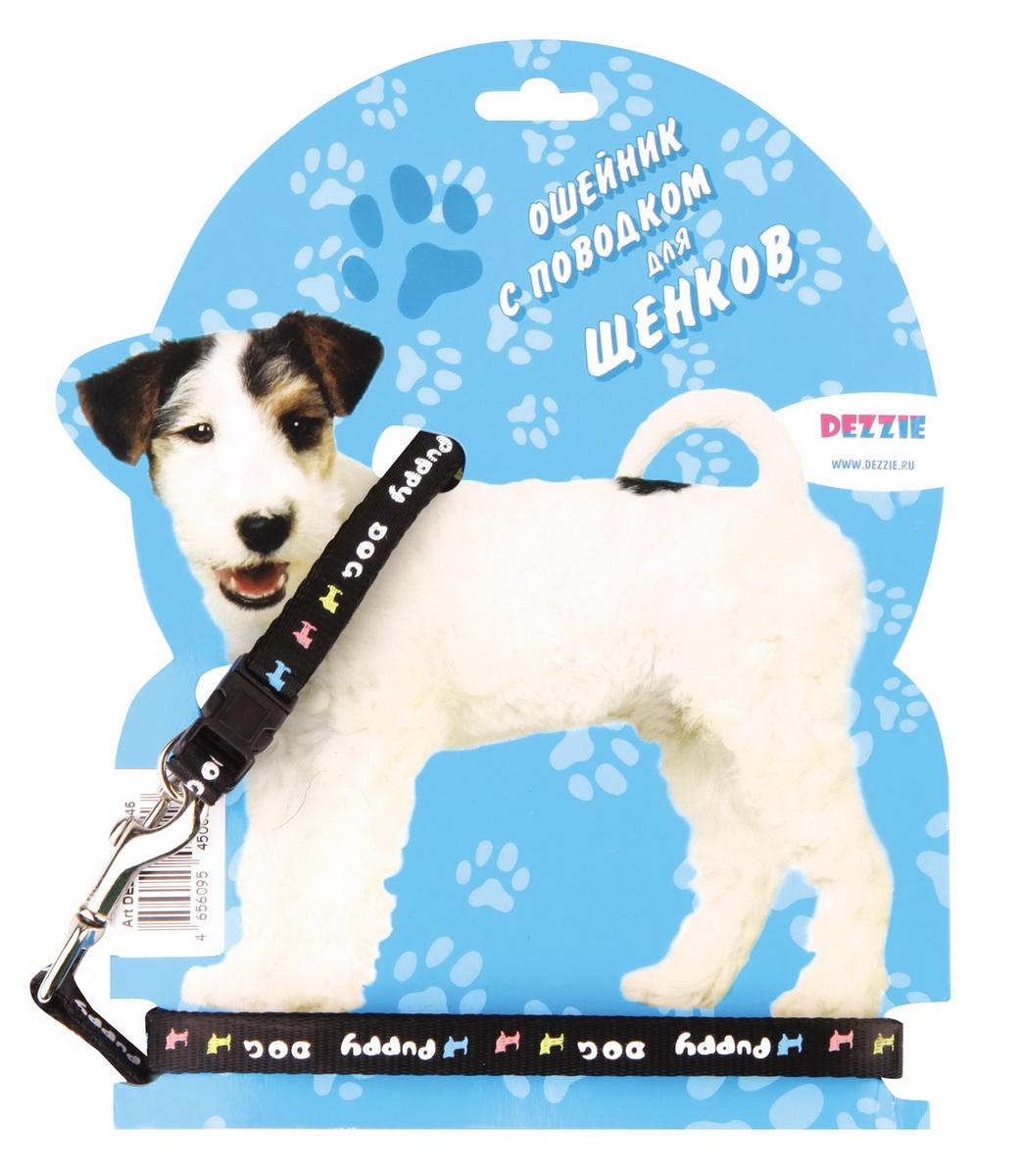 Комплект для прогулки для щенков Dezzie, цвет: черный5609544Комплект для щенков. Стильная и красивая амуниция. Имеет эффектный внешний вид.