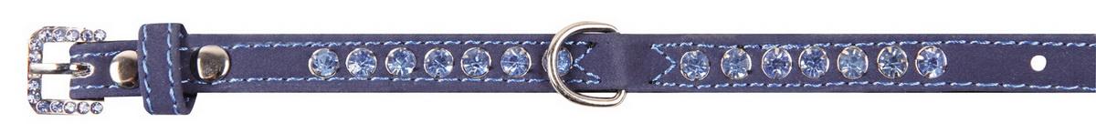 Ошейник для собак Dezzie, цвет: синий, обхват шеи 18-23 см, ширина 1 см. Размер XS. 56241045624104Ошейник для собак Dezzie изготовлен из искусственной кожи и декорирован металлической вставкой в виде бантика и стразами. Он устойчив к влажности и перепадам температур. Клеевой слой, сверхпрочные нити и крепкие металлические элементы делают ошейник надежным и долговечным. Размер ошейника регулируется при помощи пряжки. Имеется металлическое кольцо для крепления поводка. Изделие отличается высоким качеством, удобством и универсальностью, а также имеет эффектный внешний вид. Минимальный обхват шеи: 18 см. Максимальный обхват шеи: 23 см. Ширина ошейника: 1 см.