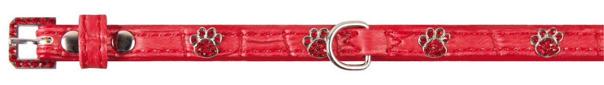 Ошейник для собак Dezzie, цвет: красный, обхват шеи 18-23 см, ширина 1 см. Размер XS. 56242785624278Лакированный ошейник для собак Dezzie, изготовленный из искусственной кожи, декорирован теснением по рептилию и металлическими вставками в виде лап со стразами. Он устойчив к влажности и перепадам температур. Клеевой слой, сверхпрочные нити и крепкие металлические элементы делают ошейник надежным и долговечным. Размер ошейника регулируется при помощи пряжки. Имеется металлическое кольцо для крепления поводка. Изделие отличается высоким качеством, удобством и универсальностью, а также имеет эффектный внешний вид. Минимальный обхват шеи: 18 см. Максимальный обхват шеи: 23 см. Ширина ошейника: 1 см.