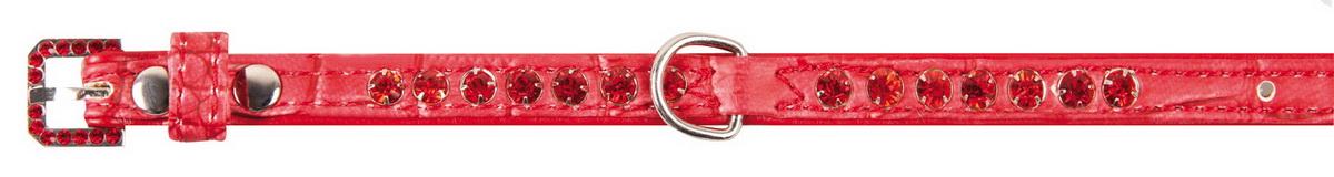 Ошейник для собак Dezzie, цвет: красный, обхват шеи 18-23 см, ширина 1 см. Размер XS. 56242895624289Лакированный ошейник для собак Dezzie изготовлен из искусственной кожи и декорирован теснением под рептилию и стразами. Он устойчив к влажности и перепадам температур. Клеевой слой, сверхпрочные нити и крепкие металлические элементы делают ошейник надежным и долговечным. Размер ошейника регулируется при помощи пряжки. Имеется металлическое кольцо для крепления поводка. Изделие отличается высоким качеством, удобством и универсальностью, а также имеет эффектный внешний вид. Минимальный обхват шеи: 18 см. Максимальный обхват шеи: 23 см. Ширина ошейника: 1 см.