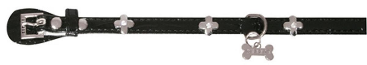 Ошейник для собак Dezzie, цвет: черный, обхват шеи 25 см, ширина 1 см. Размер XS. 56243455624345Ошейник для собак Dezzie изготовлен из искусственной кожи и декорирован металлической вставкой в виде бантика и стразами. Он устойчив к влажности и перепадам температур. Клеевой слой, сверхпрочные нити и крепкие металлические элементы делают ошейник надежным и долговечным. Имеется металлическое кольцо для крепления поводка. Изделие отличается высоким качеством, удобством и универсальностью, а также имеет эффектный внешний вид. Обхват шеи: 25 см. Ширина ошейника: 1 см.