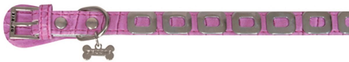 Ошейник для собак Dezzie, цвет: розовый, обхват шеи 25 см, ширина 1 см. Размер XS. 56243475624347Ошейник для собак Dezzie изготовлен из искусственной кожи и декорирован металлическими элементами и подвеской в виде косточки со стразами. Он устойчив к влажности и перепадам температур. Клеевой слой, сверхпрочные нити и крепкие металлические элементы делают ошейник надежным и долговечным. Имеется металлическое кольцо для крепления поводка. Изделие отличается высоким качеством, удобством и универсальностью, а также имеет эффектный внешний вид. Обхват шеи: 25 см. Ширина ошейника: 1 см.