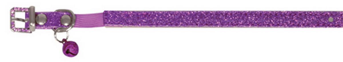 Ошейник для кошек Dezzie, с бубенчиком, цвет: фиолетовый, обхват шеи 26 см, ширина 1 см. Размер XS. 56244045624404Ошейник для кошек Dezzie, изготовленный из полиэстера, декорирован стразами и дополнен бубенчиком. Ошейник застегивается на металлическую пряжку. Резиновая вставка позволяет ошейнику надежно зафиксироваться на шее питомца, не нанося дискомфорт шерсти и позволяя свободно дышать, и при необходимости легко снять аксессуар. Бубенчик позволит контролировать местонахождение кошки, а также будет оберегать уличных птиц от нежелательного контакта. Имеется металлическое кольцо для крепления поводка. Обхват шеи: 26 см. Ширина ошейника: 1 см.