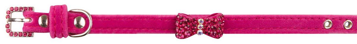 Ошейник для собак Dezzie, цвет: розовый, обхват шеи 23-28 см, ширина 1 см. 56244155624415Ошейник для собак Dezzie изготовлен из искусственной кожи и декорирован металлической вставкой в виде бантика и стразами. Он устойчив к влажности и перепадам температур. Клеевой слой, сверхпрочные нити и крепкие металлические элементы делают ошейник надежным и долговечным. Размер ошейника регулируется при помощи пряжки. Имеется металлическое кольцо для крепления поводка. Изделие отличается высоким качеством, удобством и универсальностью, а также имеет эффектный внешний вид. Минимальный обхват шеи: 23 см. Максимальный обхват шеи: 28 см. Ширина ошейника: 1 см.