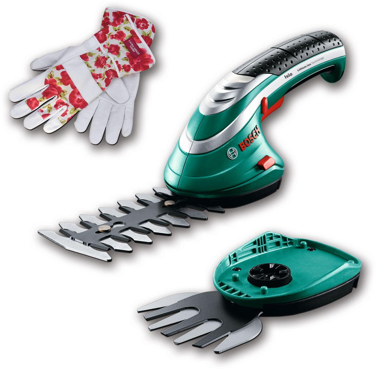 Аккумуляторные ножницы Bosch ISIO 3 для травы и кустов + перчатки Laura Ashley. 060083310M060083310MАккумуляторный легкий инструмент Isio в сочетании с универсальной системой Multi-Click необходим каждому садоводу, которому нужно выполнять работы по обрезке в саду. Литий-ионный аккумулятор 3,6 В (1,5 А/ч) обеспечивает работу до 50 минут, а малый вес позволяет выполнять обрезку и стрижку без усилий. Ножницы для травы оснащены швейцарскими ножами шириной 80 мм, а кусторез – ножами длиной 120 мм. Технические данные: Время зарядки аккумулятора 3,5 ч Индикатор заряда. Удобный 4-ступенчатый светодиодный индикатор заряда Простая замена насадок благодаря системе SDS Комплект поставки: зарядное устройство Нож для травы Multi-Click 8 см (F 016 800 326) Нож для кустореза Multi-Click 12 см (F 016 800 327) Прочные стильные перчатки от дизайнера Laura Ashley