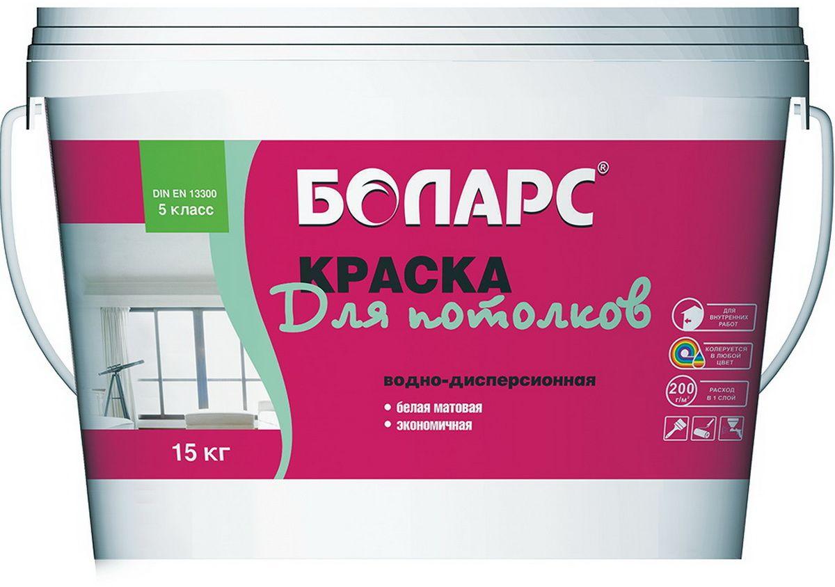 """Краска водно-дисперсионная """"Боларс"""", для потолков, матовая, цвет: белый, 15 кг 00000000676"""