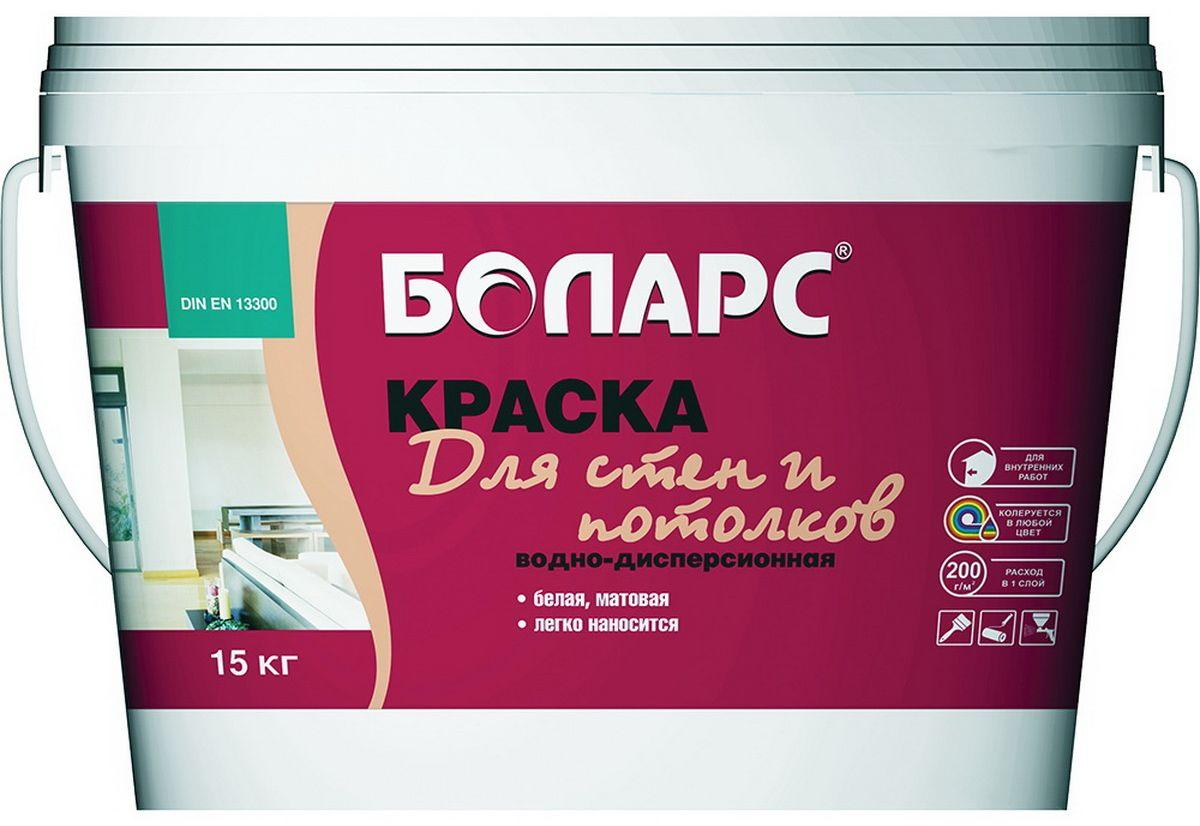 """Краска водно-дисперсионная """"Боларс"""", для стен и потолков белая, 15 кг 00000000684"""
