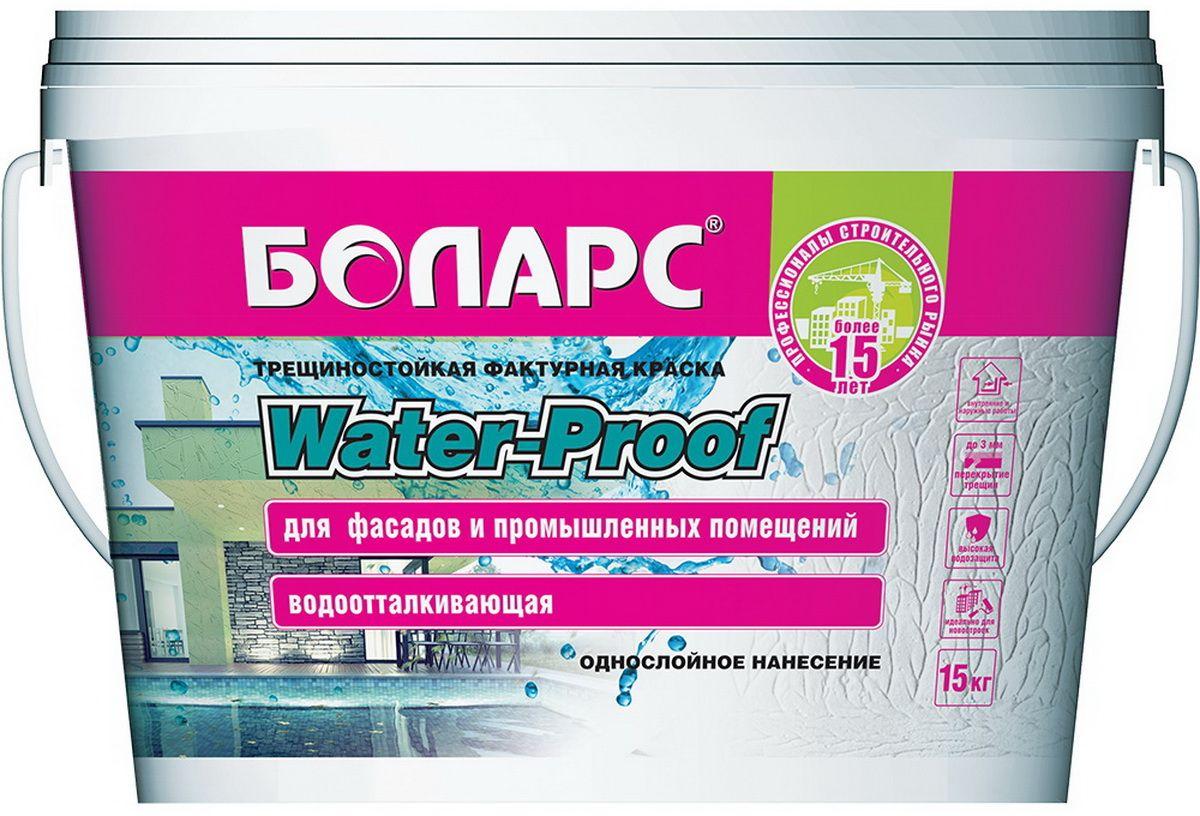 """Краска акриловая Боларс """"Water-Proof 2100"""", фактурная, гидроизоляционная, водо-грязеотталкивающая, фасадная, 15 кг 00000000713"""