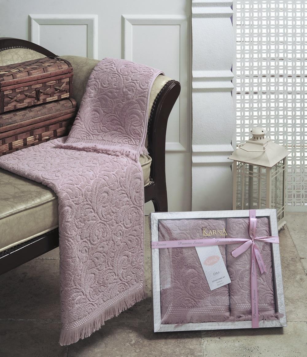 Набор полотенец Karna Esra, цвет: пыльная роза, 2 шт1687/CHAR003