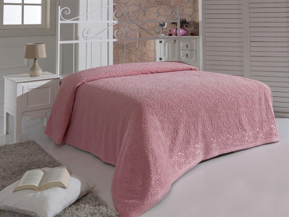 Простыня махровая Karna Esra, цвет: розовый, 200 x 220 см1788/CHAR003
