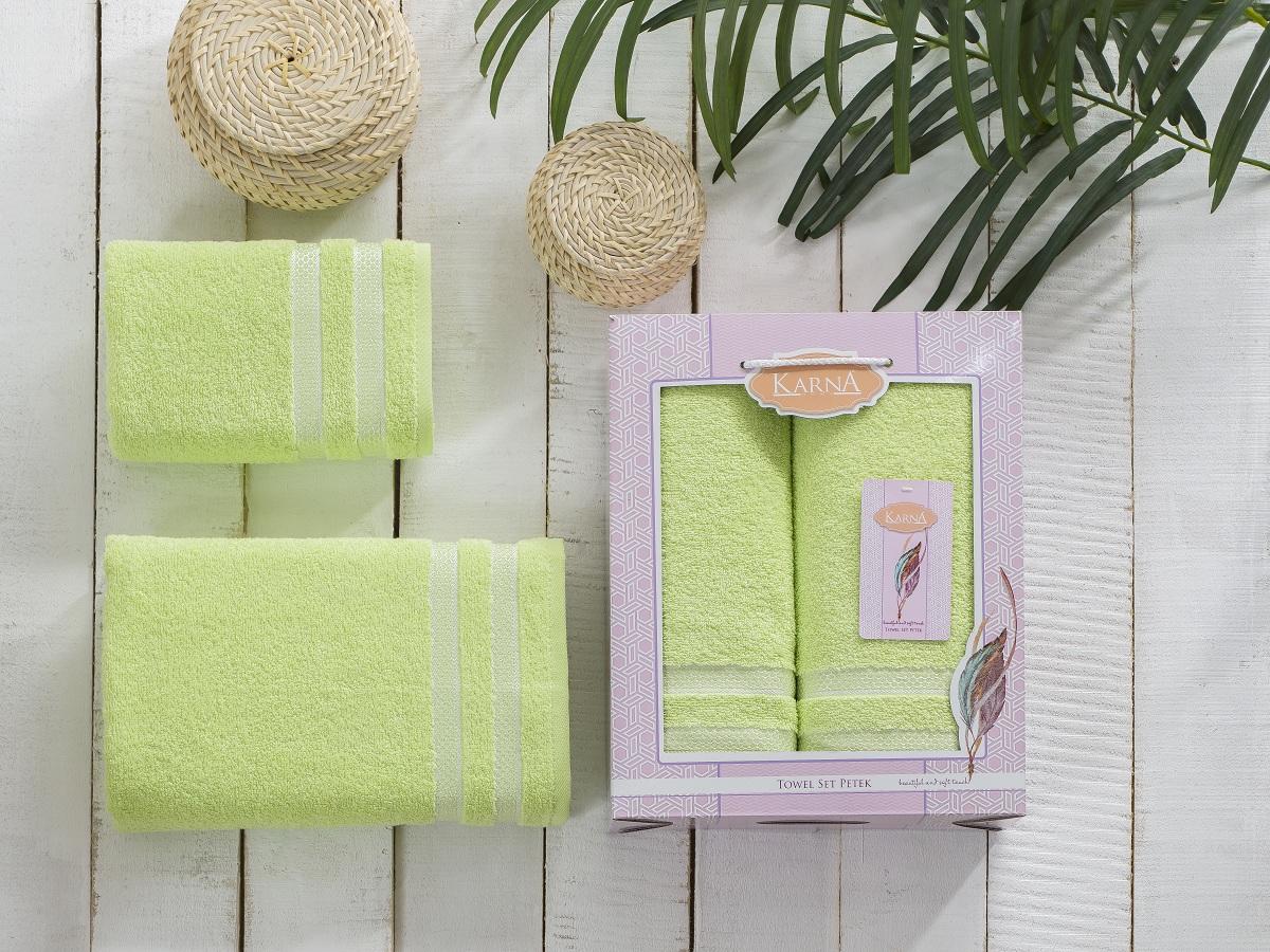 Набор полотенец Karna Petek, цвет: зеленый, 2 шт2040/CHAR005