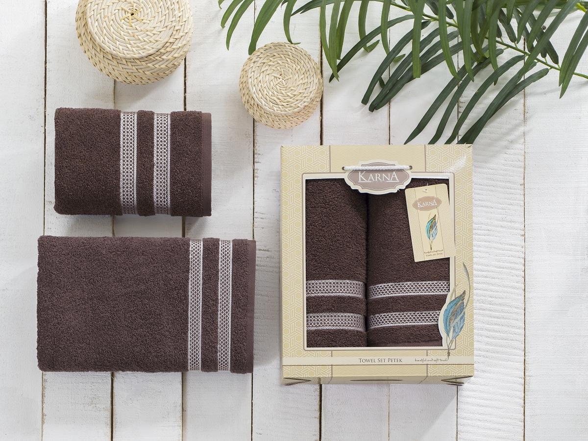 Набор полотенец Karna Petek, цвет: коричневый, 2 шт2040/CHAR006