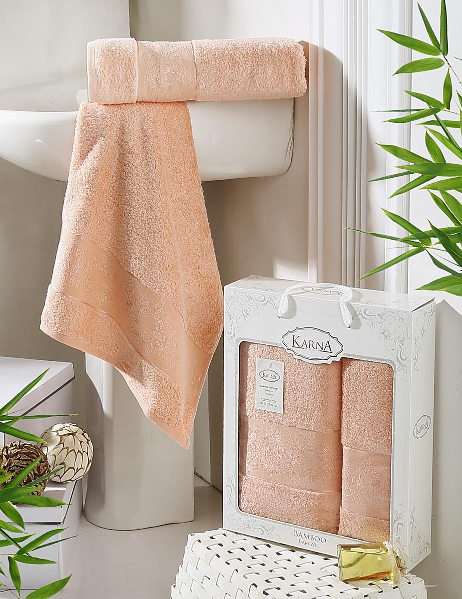 Набор полотенец Karna Pandora, цвет: абрикосовый, 2 шт2197/CHAR001
