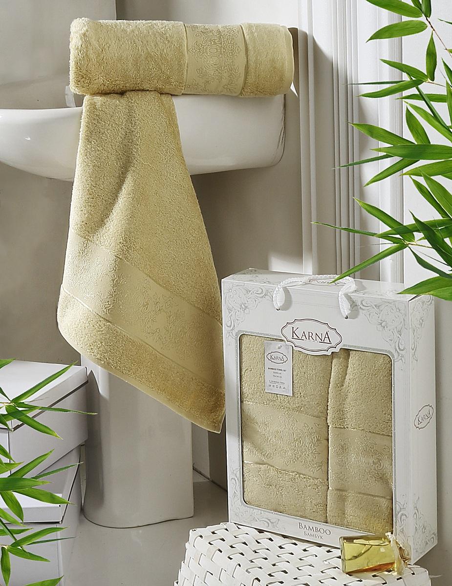 Набор полотенец Karna Pandora, цвет: золотистый, 2 шт2197/CHAR004
