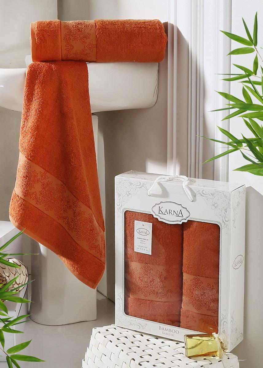 Набор полотенец Karna Pandora, цвет: кирпичный, 2 шт2197/CHAR006